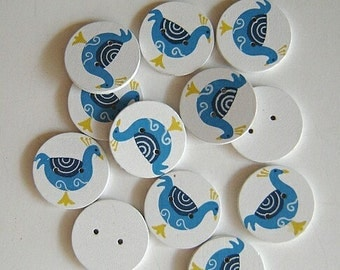 Scandinavian-style painted peacock  OR painted basket  buttons - 4