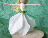 Sale - Waldorf Flower Fairy Doll - White poinsetitia - Silver Shoes - Art, bendy, worry doll