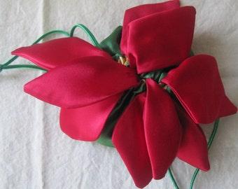 Jewelry Bag, Presentation Bag, Poinsettia,  anti-tarnish jewelry bag, Christmas, Anniversary, Wedding