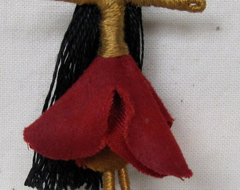 Sale - Waldorf Flower Fairy Doll - Red Velvet and Gold ethinic Art Doll, Worry Doll, Faery, elemental, Free shipping