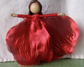 Sale - Red Flower Fairy Doll -  Valentine Fairy - Red Rose Art Doll -  Waldorf Flower Fairy - Rose Fairy