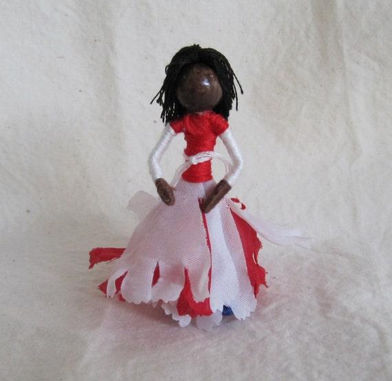 Waldorf Flower Fairy Doll - Black Fairy Doll,  African American Doll,  Art Doll, Worry Doll, Faery, elemental