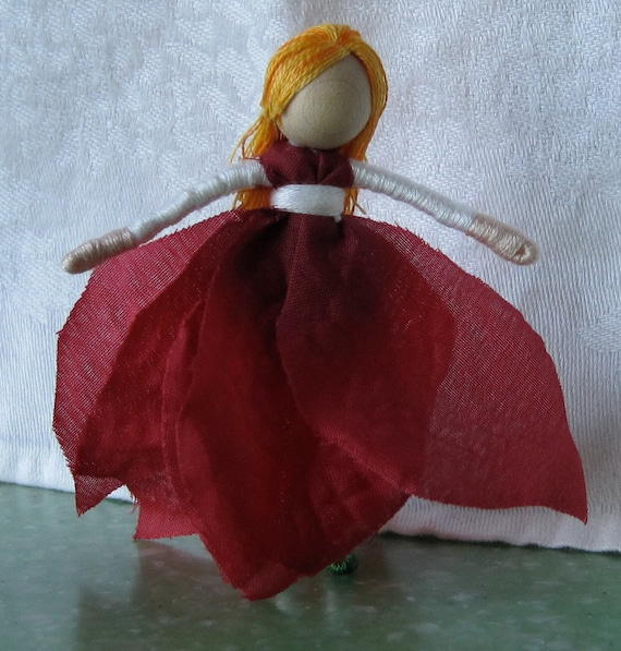 Waldorf Poinsettia Christmas  Flower Fairy - Red and white, Poinsettia Art Doll, bendy doll, ornament, worry doll