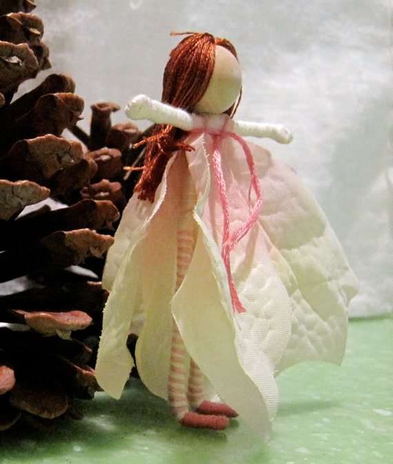 Christmas Fairy - Ivory and Pink Poinsettia Fairy - Waldorf Flower Fairy Doll - Christmas ornament