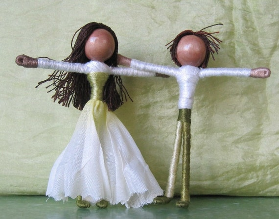 Daffodil Flower Fairy Couple - Waldorf Flower Fairy - Jonquille Flower fairy - Latin - Ethnic dolls