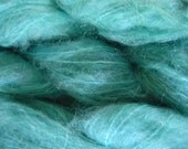 Hand Painted Mohair Yarn in Ocean Blue Fingering Weight