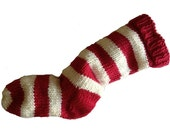 Hand Knit Christmas Stocking Hand Knit Red and Natural White Striped Wool Santa Sock