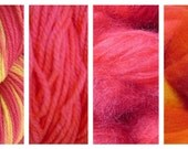 Hand Dyed Samples of Merino Wool DK Sport Weight Yarn in Sunset Red