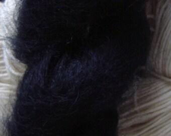 Mohair Yarn in True Black Fingering Weight