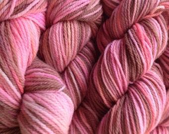 Handpainted Merino Wool DK Sport Weight Yarn in Pink Sand Brown