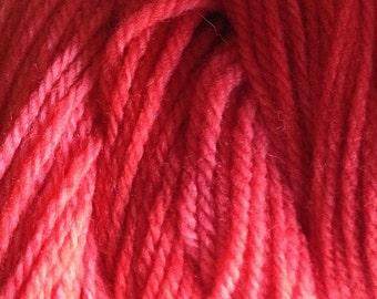 Strawberry Red DK Sport Weight Hand Dyed Merino Wool Yarn