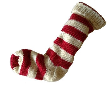 Hand Knit Christmas Stocking Hand Knit Natural White and Red Striped Wool Santa Sock