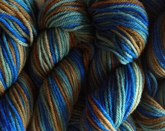 Blue Green Brown DK Sport Weight Handpainted Merino Wool Yarn Blue Grass Color Way