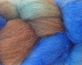 Wool Roving Hand Dyed in Blue Grass