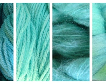 Hand Dyed Samples of Merino Wool DK Sport Weight Yarn in Ocean Tide