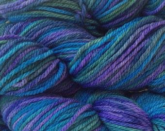 Purple Blue Green Wool Yarn Hand Dyed Merino Wool Worsted Weight Yarn in Sea Turtle Handpainted