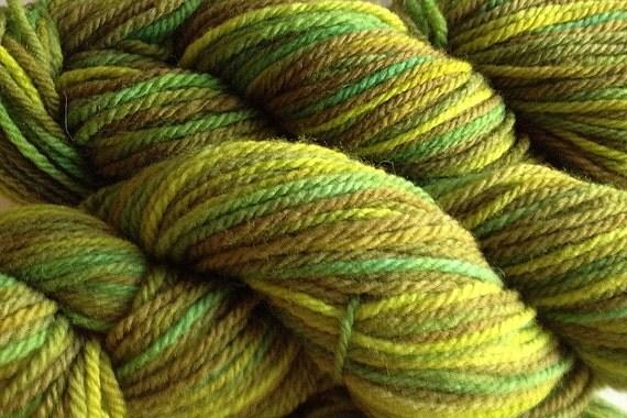 Handpainted Merino Wool Worsted Weight Yarn in Rain Forest