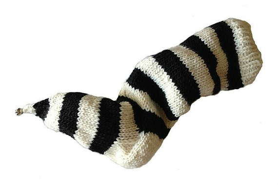 Hand Knit Christmas Stocking Hand Knit Natural White and Black Striped Santa Sock Nightmare