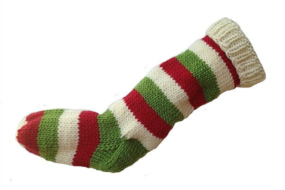 Christmas Stocking Hand Knit Natural White, Green, and Red Striped Santa Sock