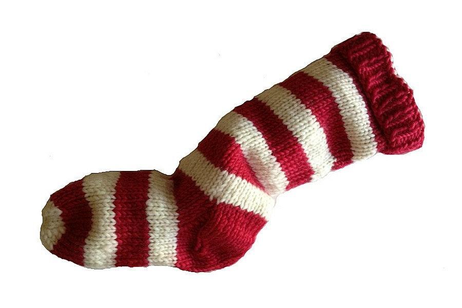 Knitting Pattern Striped Christmas Stocking : Hand Knit Christmas Stocking Hand Knit Red and Natural White