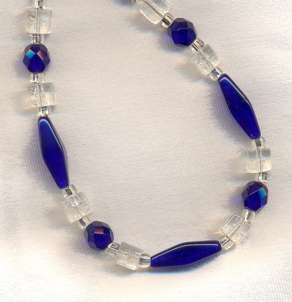 Cobalt Blue and Snow Cone Glass Necklace and Earring Set