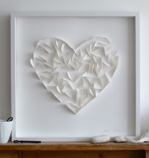 Large Paper Heart - White