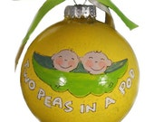 Two Peas in a Pod - Handpainted personalized glass ornament