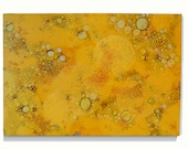 Original Oil Painting with High Gloss Finish, Geometric Yellow Circles on Canvas, 22''x30""