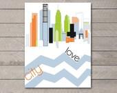 City Love Poster Design (Blue, Green, Black, Orange) Customizable Colors, Digital Print on Semi Gloss Paper, Multiple Sizes Available ,