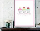 Digital Print on Semi Gloss Paper, Cupcake LOVE Poster Design / Bakery Art Digital Print, Multiple Sizes Available