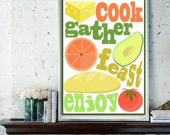Cook, Gather, Feast, Enjoy Poster Design for Kitchen Area / Digital Print / Typography Design, Multiple Sizes Available