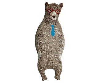 Brown stuffed bear with tie and glasses