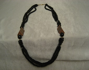 Vintage Black Bead and Wood Necklace  Lots of Beads Native Style Jewelry