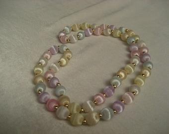 "Pretty Satin Silk Thread Pastel Colored Vintage  Jewelry Necklace  31 "" around"