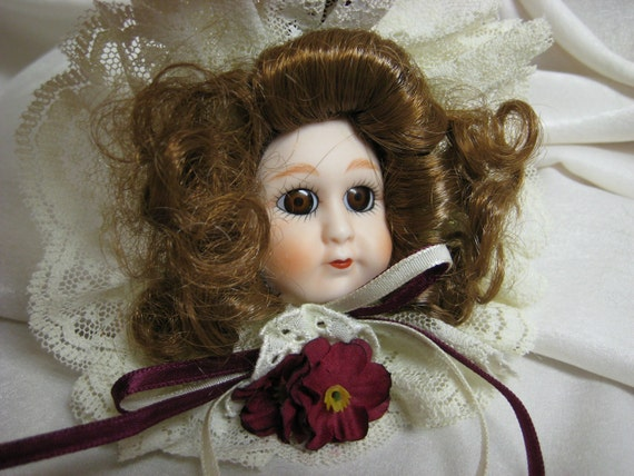 Vintage Bisque Doll Face Ornament From Gorham