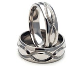 New Infinity His and Hers Set Titanium Wedding Rings - Matching Set: 8HRP.6HRP-INFINITY-T8