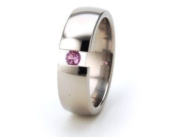 Great Titanium Tension Set Ring - All Sizes - Choose your Gemstone