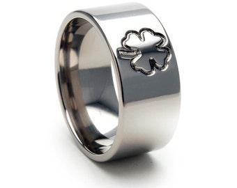 New LUCKY IRISH Titanium Ring, Designer Jewelry, Clover, Sizing 4-17, 10F-4LEAFCLOVER