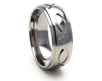 Titanium Jesus Fish Ring, Christian Rings, Christan Bands, 8HRRC-P-JESUS FISH