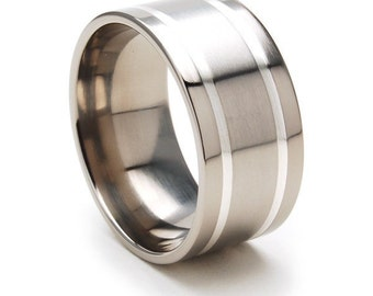 New 11mm Titanium Ring, Sterling Silver Inlay Band, Free Jewelry Sizing 4-17:11F2WGBR-SSINLAY