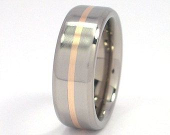 New 7mm Titanium Wedding Ring With 14k Yellow Gold Inlay, Free Sizing Jewelry 4-17: 7FT11GBR-14K INLAY