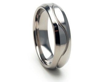 New 6mm Polished WAVY LINE Titanium Ring, Free Jewelry Sizing 4-17