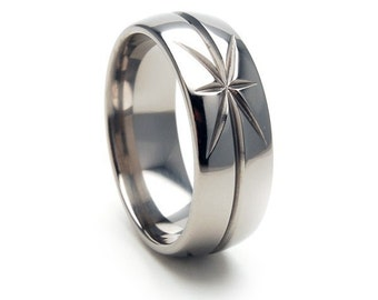 New 8mm STARBURST Titanium Ring, Free Sizing Band 4-17