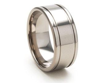 9mm USA Made, Custom Titanium Ring, Sizing 4-17: 9F2GWS-P