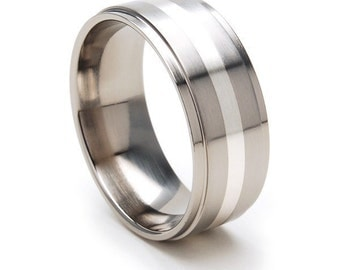 New Comfort Fit, 9mm Titanium Ring, Sterling Silver Inlay, Sizing 4-17:  9RC12GBR-SSINLAY