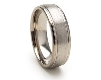 New 7mm Comfort Fit, Custom Titanium Ring USA Made Titanium Wedding Ring : 7D21-STC