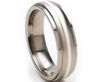 New 6mm Titanium Ring, Sterling Silver Inlay, Free Jewelry Sizing 4-17: 6HRRC11GXB-SSINLAY