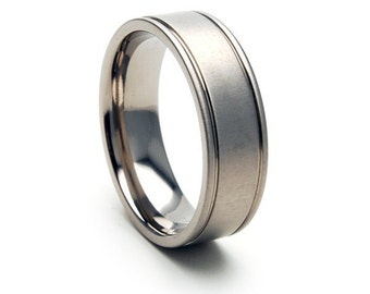 New 7 mm Titanium Band - Titanium Rings : 7HR2RS-XB-PI