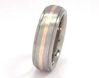New 6mm Titanium Ring With 14k Yellow Gold Inlay- 6HRRC11GST-14K INLAY