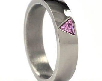 New 6 mm Pink Pride Triangle Titanium Ring:6HR-PRIDE TRIANGLE
